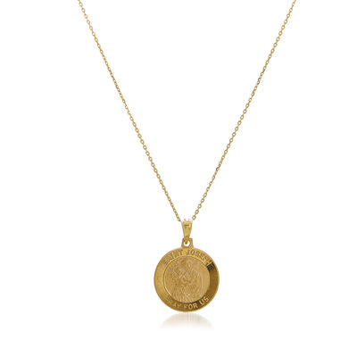 14kt Yellow Gold Medium Joseph Medal Pendant Necklace, , default