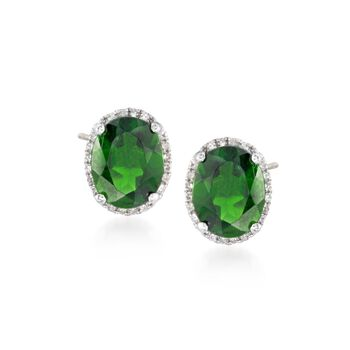 3.50 ct. t.w. Green Chrome Diopside Stud Earrings With Diamonds in 14kt White Gold, , default