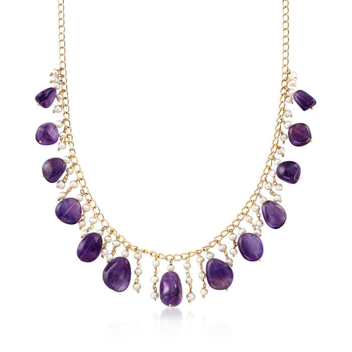 Cultured Pearl and 100.00 ct. t.w. Amethyst Drop Necklace in 18kt Gold Over Sterling