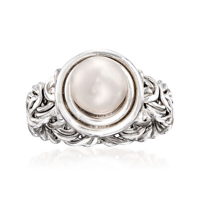 8mm Cultured Pearl Byzantine Ring in Sterling Silver