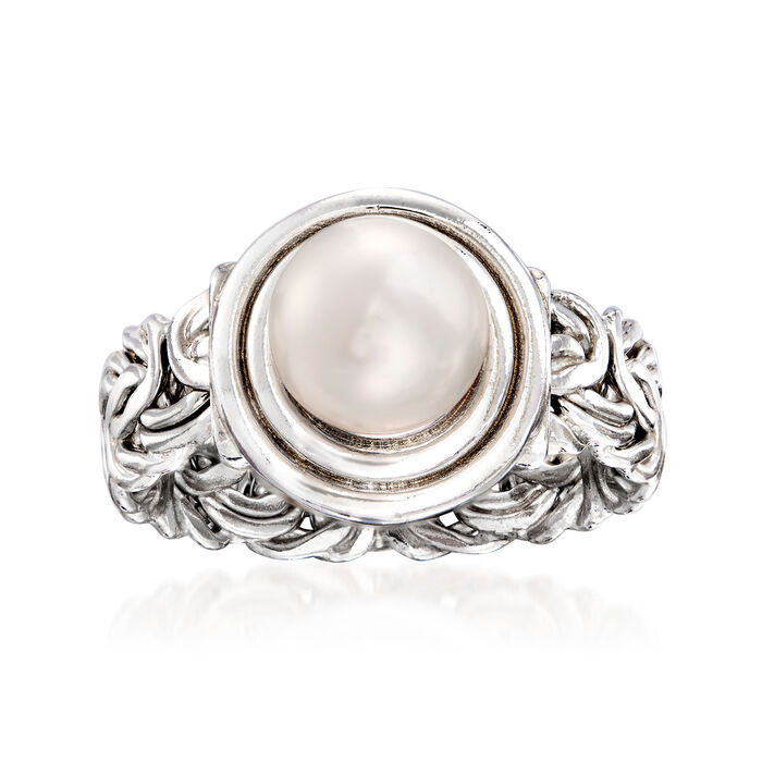 8mm Cultured Pearl Byzantine Ring in Sterling Silver, , default