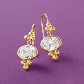 2.50 ct. t.w. Bezel-Set CZ Drop Earrings in 14kt Yellow Gold, , default