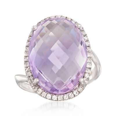 12.00 Carat Amethyst and .30 ct. t.w. White Zircon Ring in Sterling Silver, , default
