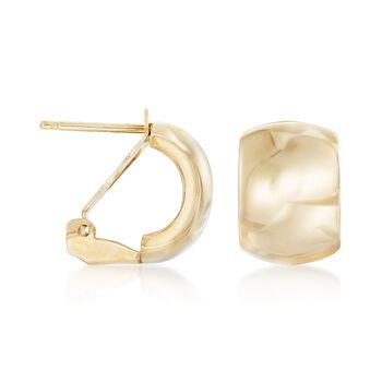 """Italian 18kt Yellow Gold Wide Polished Hoop Earrings. 1/2"""""""