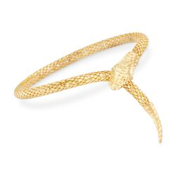 Italian 18kt Gold Over Sterling Silver Diamond-Cut Snake Bracelet, , default