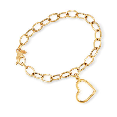 Italian 18kt Yellow Gold Heart Charm Bracelet, , default
