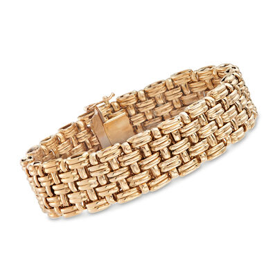 Italian 14kt Yellow Gold Basketweave Bracelet, , default