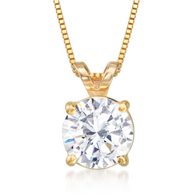 1.20 Carat Diamond Solitaire Pendant Necklace in 14kt Yellow Gold, , default