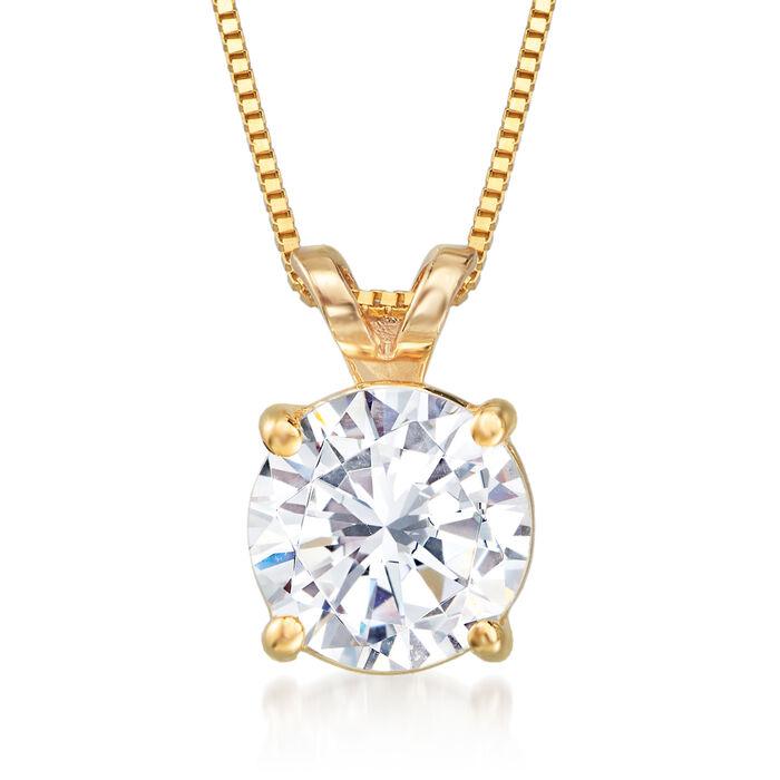 1.20 Carat Diamond Solitaire Pendant Necklace in 14kt Yellow Gold, , default