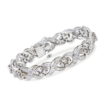 "C. 1980 Vintage 4.70 ct. t.w. Diamond Twist Bracelet in Platinum and 14kt Gold. 6.75"", , default"