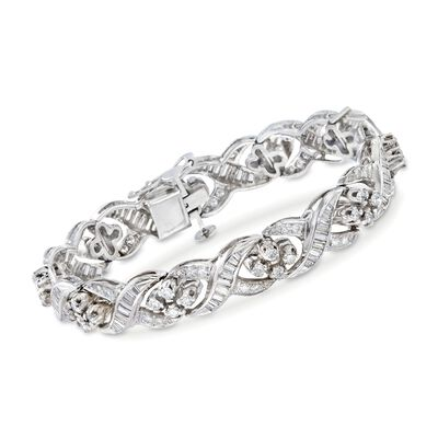C. 1980 Vintage 4.70 ct. t.w. Diamond Twist Bracelet in Platinum and 14kt Gold, , default