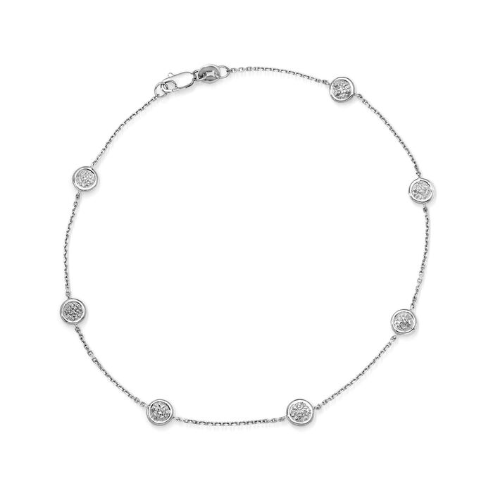 .25 ct. t.w. Pave Diamond Station Anklet in 14kt White Gold. 9""