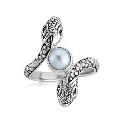 Cultured Pearl Snake Bypass Ring in Sterling Silver, , default