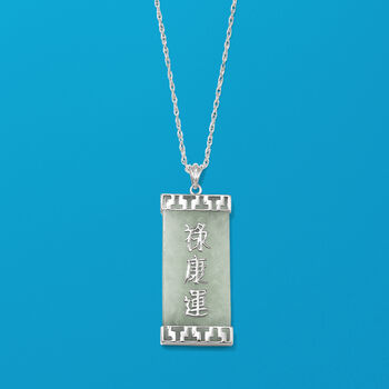 Green Jade Chinese Character Pendant Necklace in Sterling Silver, , default