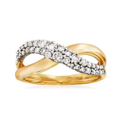 .46 ct. t.w. Diamond Crisscross Ring in 14kt Yellow Gold