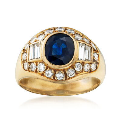 C. 1980 Vintage 2.00 Carat Sapphire and 1.25 ct. t.w. Diamond Ring in 18kt Yellow Gold, , default