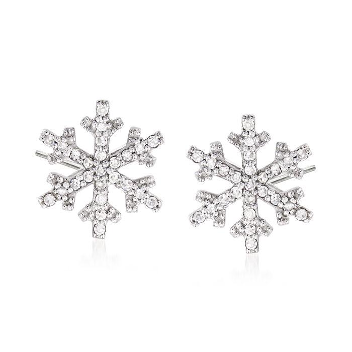 .15 ct. t.w. Diamond Snowflake Stud Earrings in 14kt White Gold, , default