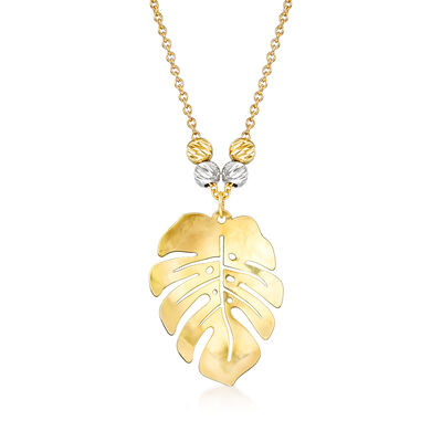 Italian 18kt Two-Tone Gold Monstera Leaf Necklace, , default