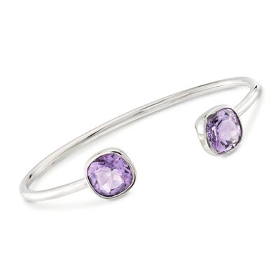 6.00 ct. t.w. Amethyst Open Cuff Bracelet in Sterling Silver, , default