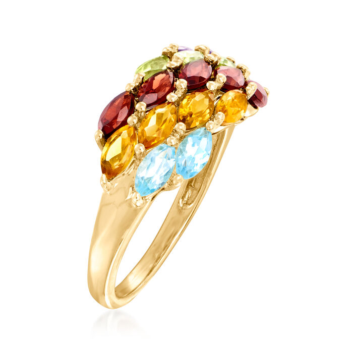 C. 1980 Vintage 2.11 ct. t.w. Multi-Gemstone Ring in 14kt Yellow Gold