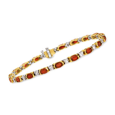 C. 1990 Vintage 5.00 ct. t.w. Ruby and 1.00 ct. t.w. Diamond Bracelet in 18kt Two-Tone Gold