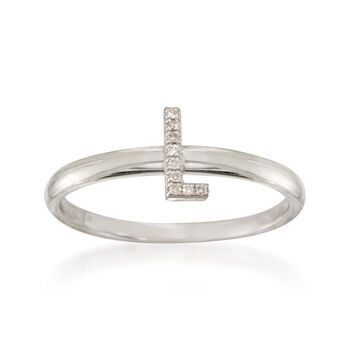 """Diamond Accent Mini Initial """"L"""" Ring in Sterling Silver, , default"""