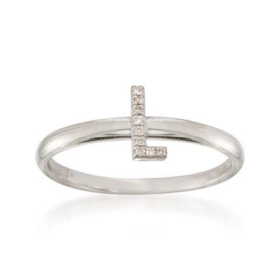 "Diamond Accent Mini Initial ""L"" Ring in Sterling Silver, , default"