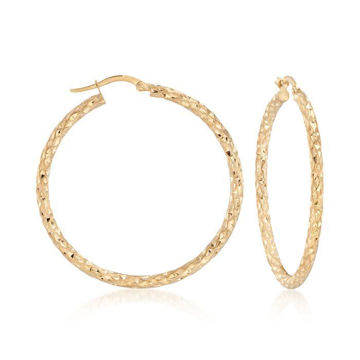 Italian 14kt Yellow Gold Textured Hoop Earrings