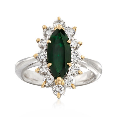 C. 1990 Vintage 13x5.5. Marquis Tourmaline Ring with 1.01 ct. t.w. Diamonds in Platinum, , default