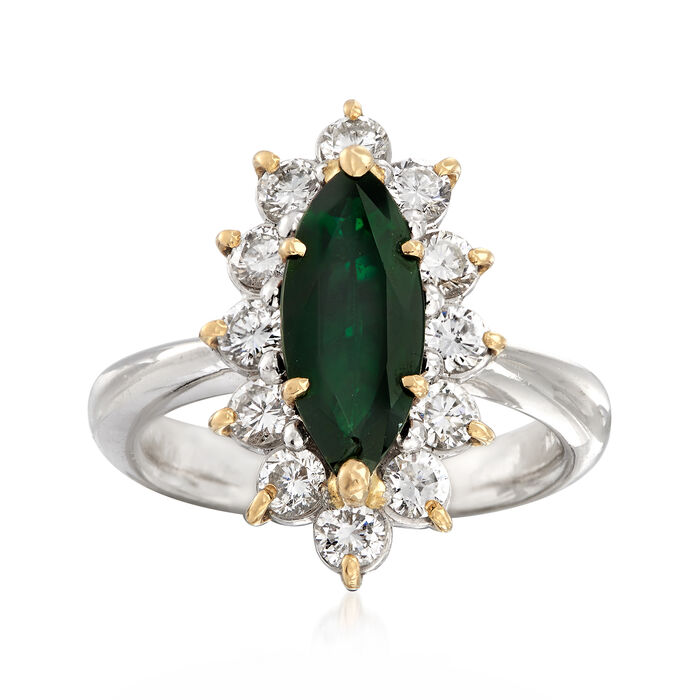 C. 1990 Vintage 13x5.5. Marquis Tourmaline Ring with 1.01 ct. t.w. Diamonds in Platinum. Size 6.5