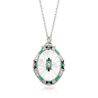 C. 1950 Vintage Rock Crystal and .12 ct. t.w. Diamond Pendant Necklace in 14kt White Gold, , default