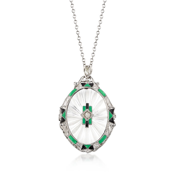 "C. 1950 Vintage Rock Crystal and .12 ct. t.w. Diamond Pendant Necklace in 14kt White Gold. 16.25"", , default"
