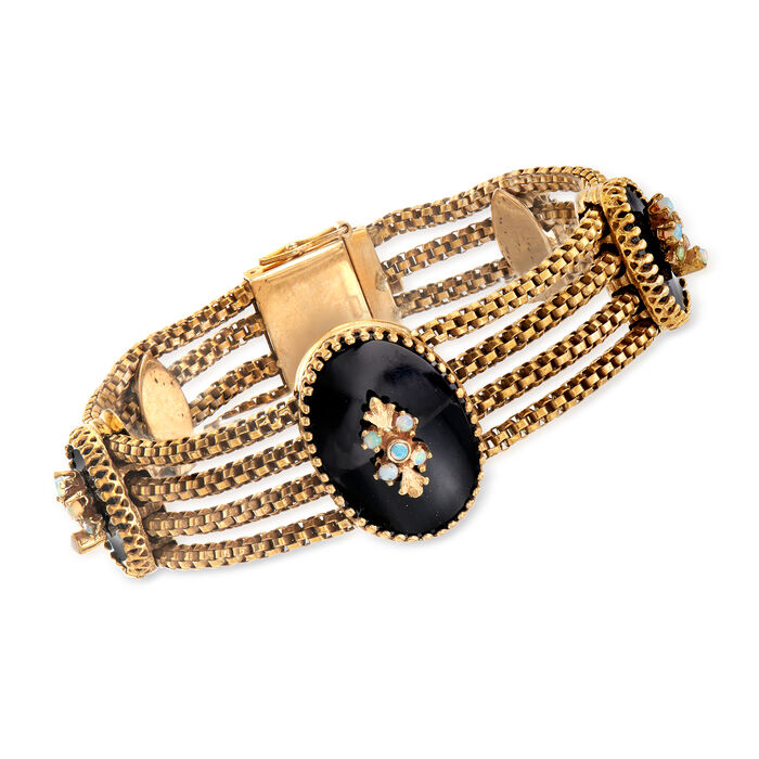 """C. 1960 Vintage Black Onyx and White Opal Section Bracelet in 14kt Yellow Gold. 7"""""""