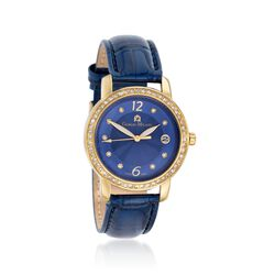 Giorgio Milano Women's 38mm Date Window Crystal Watch in Gold-Plated Stainless Steel With Blue Leather, , default