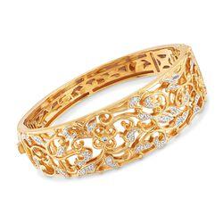 """Belle Etoile """"Empress"""" .33 ct. t.w. CZ Bangle Bracelet in 24kt Gold Over Sterling. 7"""", , default"""