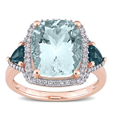 5.00 Carat Aquamarine, .60 ct. t.w. London Blue Topaz and .30 ct. t.w. Diamond Ring in 14kt Rose Gold
