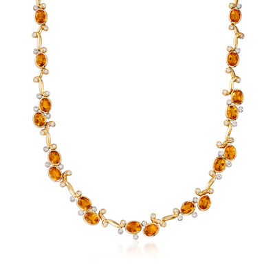 C. 1980 Vintage 25.30 ct. t.w. Citrine and 2.25 ct. t.w. Diamond Station Necklace in 18kt Yellow Gold