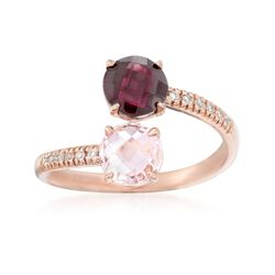 1.20 Carat Rhodolite and .70 Carat Morganite Bypass Ring With Diamond Accents in 14kt Rose Gold, , default