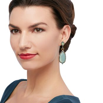 Aqua Chalcedony and 2.60 ct. t.w. Blue and White Topaz Drop Earrings in 18kt Gold Over Sterling , , default