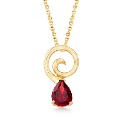 1.10 Carat Garnet Pendant Necklace in 18kt Gold Over Sterling, , default