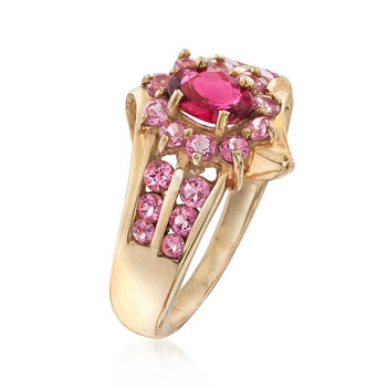 C. 1990 Vintage .65 ct. t.w. Pink Topaz and .35 Carat Pink Tourmaline Ring in 14kt Yellow Gold. Size 5, , default