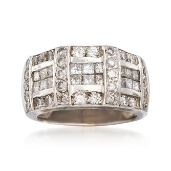 C. 1980 Vintage 1.75 ct. t.w. Princess-Cut and Round Diamond Ring in 18kt White Gold. Size 5, , default