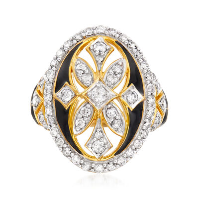 1.00 ct. t.w. Diamond Art Deco-Style Ring with Black Enamel in 18kt Gold Over Sterling