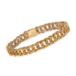 "C. 1970 Vintage Tiffany Jewelry 18kt Yellow Gold Mesh Bracelet. 7"", , default"
