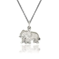 "14kt White Gold Elephant Pendant Necklace. 18"", , default"