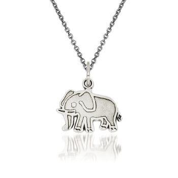 """14kt White Gold Elephant Pendant Necklace. 18"""", , default"""