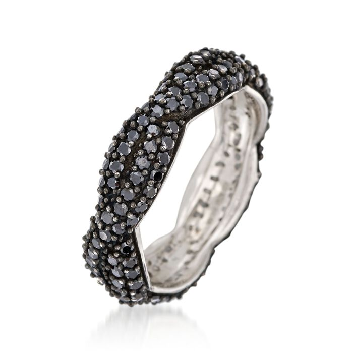 1.50 ct. t.w. Black Spinel Braided Eternity Band in Sterling Silver