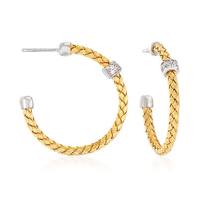 Italian .20 ct. t.w. CZ Basketweave Hoop Earrings in 18kt Gold Over Sterling with Sterling Silver, , default