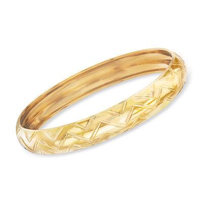 Italian 18kt Yellow Gold Chevron Bangle Bracelet, , default