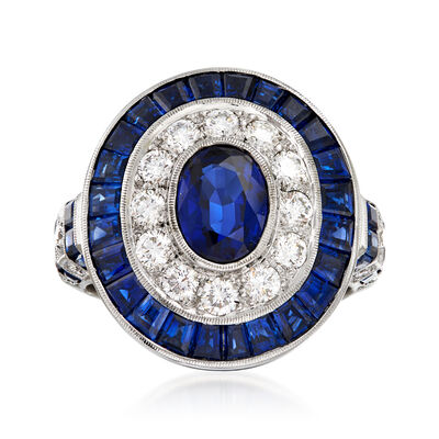 C. 1990 Vintage 4.89 ct. t.w. Sapphire and .77 ct. t.w. Diamond Oval Ring in 18kt White Gold, , default